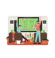 football on tv flat style design vector image