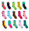 funny socks with different patterns vector image vector image