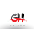 gh g h brush logo letters with red and black vector image vector image