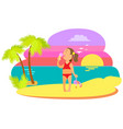 girl in swimsuit eating ice-cream summer vector image vector image