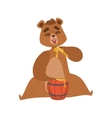 Girly Cartoon Brown Bear Character Eatin Honey vector image vector image