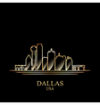 Gold silhouette of Dallas on black background vector image vector image