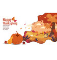 Happy thanksgiving autumn banner design
