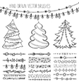 Holiday brushesChristmas doodle setBlack vector image vector image