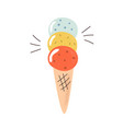 ice cream with different flavors in a waffle cone vector image