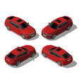 isometric red off-road car set different sides vector image vector image