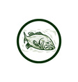 Largemouth Bass Fish Front Side Circle Cartoon vector image vector image