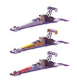 low poly top fuel dragsters vector image vector image