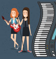 music festival live with women playing electric vector image vector image