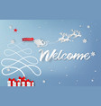 paper art of welcome to christmas day vector image