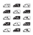 passenger and freight vans and pickups vector image vector image