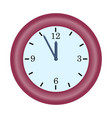red clock minute hand on five to twelve hour vector image