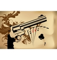 revolver and playing cards vector image vector image