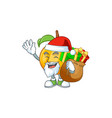 santa with gift seeds nutmeg cartoon on white vector image vector image