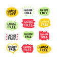 set color labels with text lactose free vector image vector image