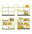 Set Of Racks With Boxes In Flat Design vector image vector image