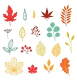 Set of various stylized autumn leaves and elements vector image vector image