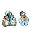 set thinker dreamer man astronaut and man in vr vector image vector image