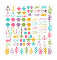 set with hand drawn sea animals and creatures big vector image vector image