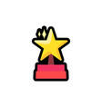 star on podium flat outline vector image vector image