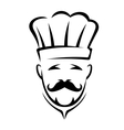 Stylized black and white chef icon vector image