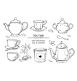 tea set on white background vector image