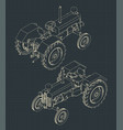 tractor isometric drawings vector image vector image