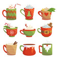 traditional christmas drinks flat vector image