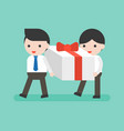 two businessman carrying big present box business vector image