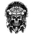 warrior jaguar skull vector image