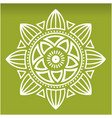 white lotus mandala green background image vector image
