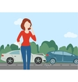 Woman calling after car crash in the forest road vector image vector image