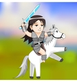 woman warrior on a horse vector image vector image