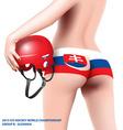 woman with hockey helmet vector image vector image