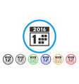 2016 day rounded icon vector image