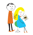 Hairdresser and woman cartoon funny scene vector image