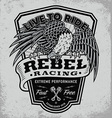 Rebel racing eagle crest shield t-shirt graphic vector image