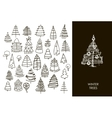 Set of Christmas black trees isolated on white vector image
