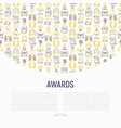 awards concept with thin line icons vector image vector image