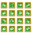 building materials icons set green square vector image vector image