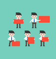 businessmen holding red blank sign in various pose vector image vector image