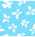 Butterflies and Waves Blue vector image vector image