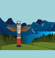 canadian landscape with totem scene icon vector image vector image