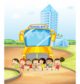 Children and school bus vector image vector image