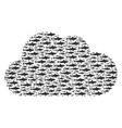 cloud shape of shark icons vector image