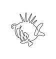 continuous line drawing fish fish logo predator vector image vector image
