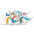 cross-country skiing competition line art stylize vector image vector image