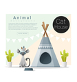 Cute animal collection Cat house 1 vector image