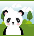 cute panda bear in the field landscape character vector image