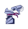 cybernetic pirate with cctv camera vector image vector image